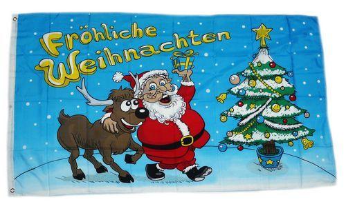 Fahne / Flagge Fröhliche Weihnachten Elch 90 x 150 cm