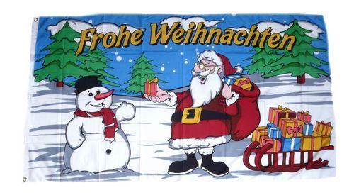 Fahne / Flagge Frohe Weihnachten Schlitten 60 x 90 cm