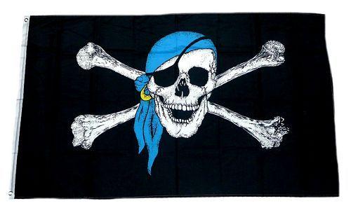 Fahne / Flagge Pirat Kopftuch Blau 90 x 150 cm