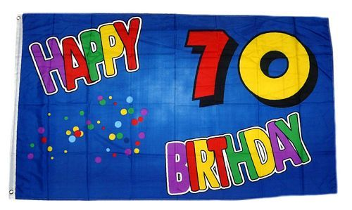 Fahne / Flagge 70. Geburtstag Happy Birthday 90 x 150 cm