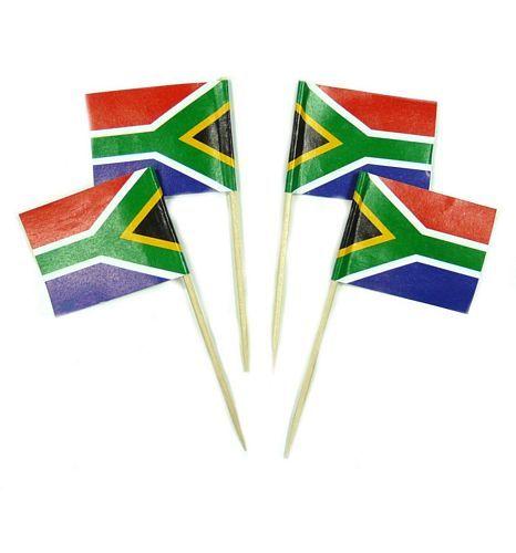 50 Minifahnen Dekopicker Südafrika 30 x 40 mm