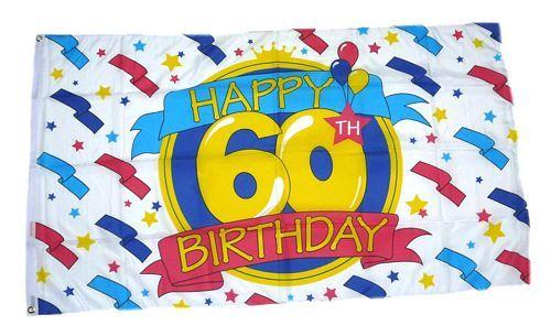 Fahne / Flagge Happy Birthday 60. Geburtstag 90 x 150 cm