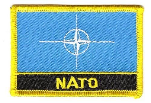 Fahnen Aufnäher NATO Schrift