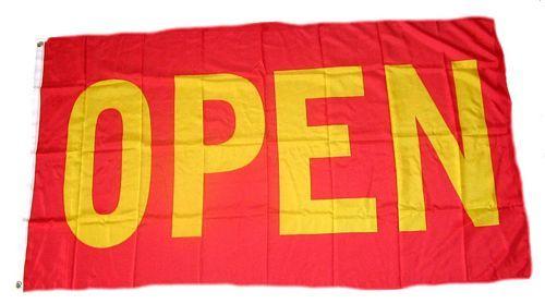 Fahne / Flagge OPEN / Offen rot 90 x 150 cm