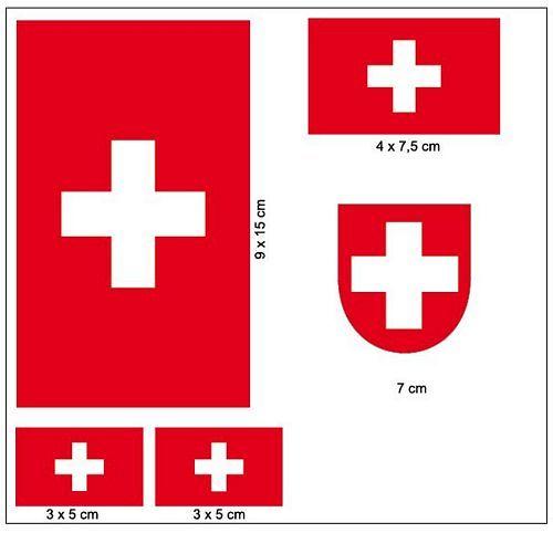 Fahnen Aufkleber Set Schweiz