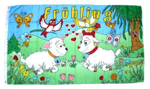 Fahne / Flagge Frühling Schafe 90 x 150 cm