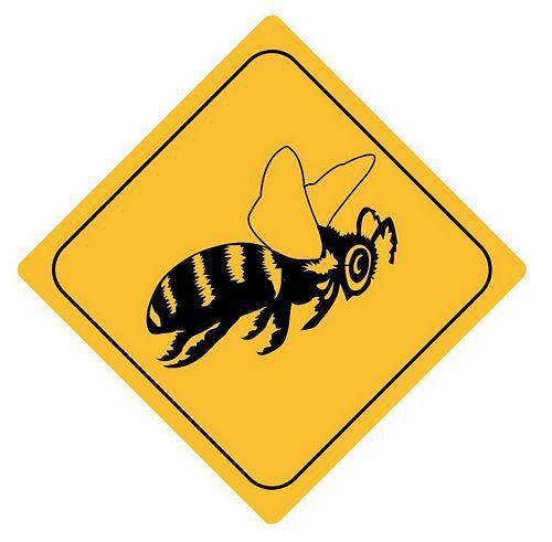 Aufkleber Sticker Achtung Biene Autoaufkleber