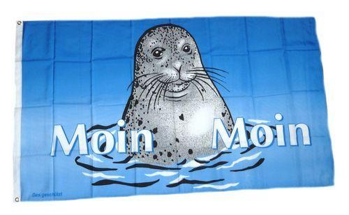 Fahne / Flagge Seehund Moin Moin 90 x 150 cm