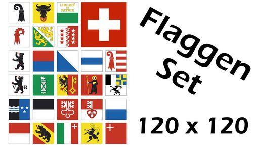 Flaggenset Schweiz 26 Kantone 120 x 120 cm
