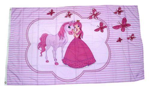 Fahne / Flagge Prinzessin Pferd Schmetterlinge 90 x 150 cm