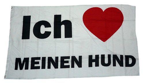 Fahne / Flagge Ich Liebe meinen Hund 90 x 150 cm