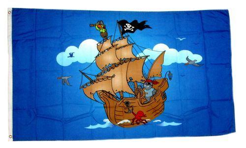 Fahne / Flagge Piratenschiff blau 60 x 90 cm