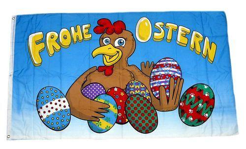Fahne / Flagge Frohe Ostern Henne Eier 90 x 150 cm