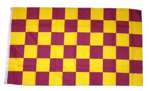 Fahne / Flagge Karo gelb / lila 90 x 150 cm