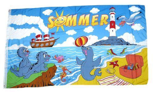 Fahne / Flagge Sommer Leuchtturm 90 x 150 cm