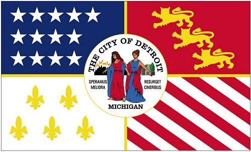 Fahne / Flagge USA - Detroit 90 x 150 cm