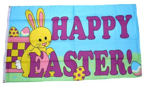Fahne / Flagge Happy Easter Hase 90 x 150 cm