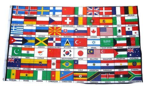 Fahne / Flagge 70 Länder 90 x 150 cm