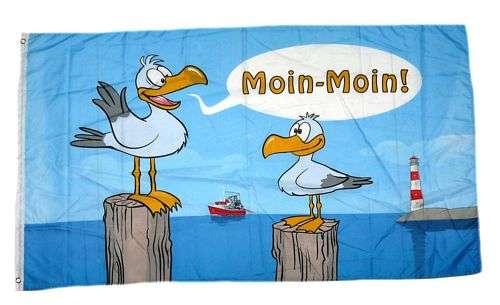 Flagge Fahne Seehund Küste Moin Moin Hissflagge 90 x 150 cm