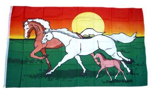 Fahne / Flagge Pferdefamilie 90 x 150 cm