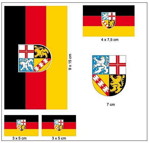 Fahnen Aufkleber Set Saarland