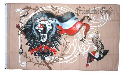 Fahne / Flagge Ein deutscher Gruß Kaiserreich 90 x 150 cm