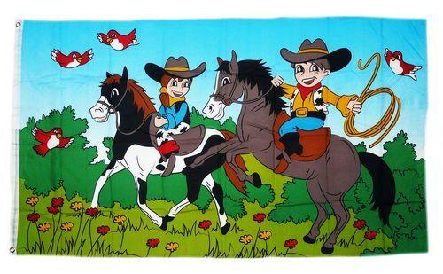 Fahne / Flagge Cowboykinder 90 x 150 cm
