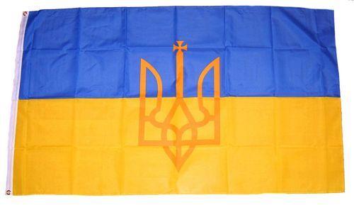 Flagge Fahne Ukraine mit Wappen 90 x 150 cm
