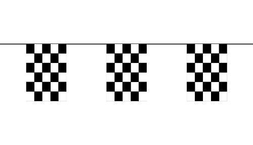 Flaggenkette Start / Ziel schwarz / weiß 6 m