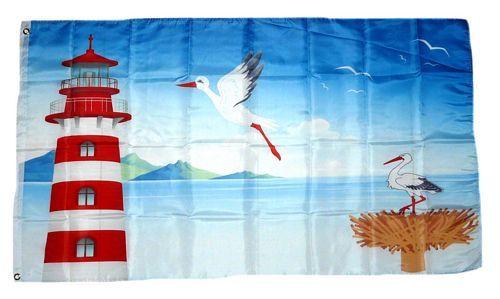 Fahne / Flagge Leuchtturm Storch 90 x 150 cm