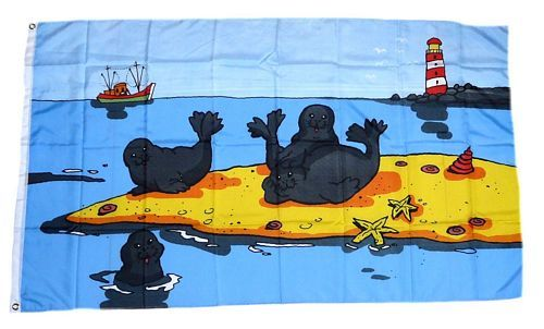 Fahne / Flagge Seehunde Sandbank 90 x 150 cm