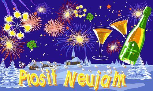 Fahne / Flagge Prosit Neujahr Feuerwerk 90 x 150 cm